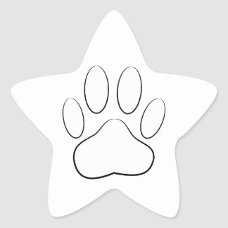 White Paw Print Star Stickers