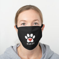 White Paw Print With Red Heart Custom Name Black Cotton Face Mask