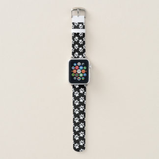 White Paw Prints Design Apple Watch Band
