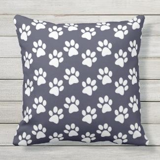 White Paw Prints Design Outdoor Pillow
