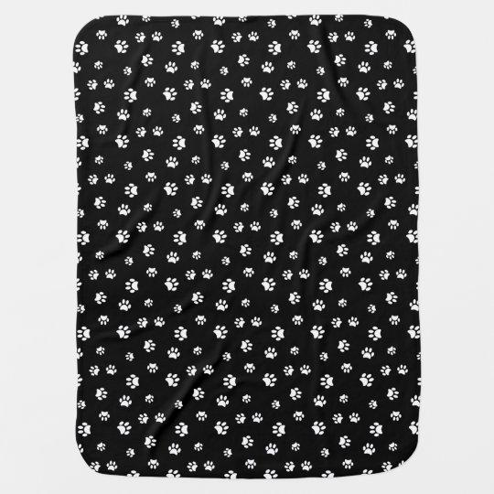 White paw prints pattern baby blanket