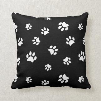 White Paw Prints Pattern Throw Pillow