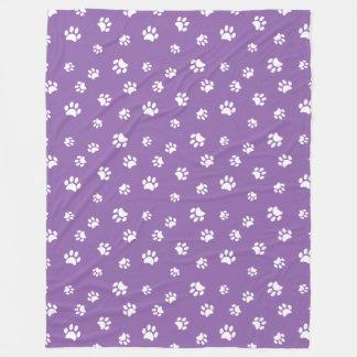 White Paw Prints Pattern with Purple Background Fleece Blanket