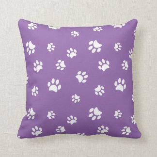 White Paw Prints Pattern with Purple Background Throw Pillow