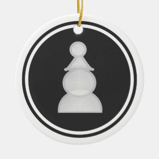 White Pawn Chess Ceramic Ornament