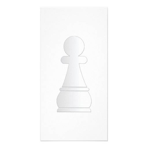 White pawn chess piece photo card template