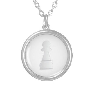 White pawn chess piece silver plated necklace
