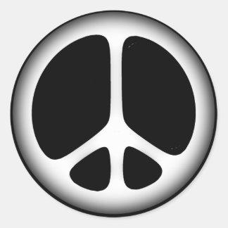 white peace classic round sticker
