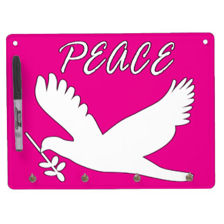 white peace dove dry erase board with keychain holder