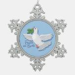 White Peace Dove on Earth Ornament