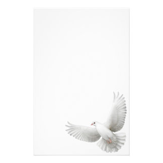 White Peace Dove Stationery