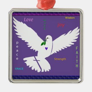 white peace dove with encouraging text metal ornament