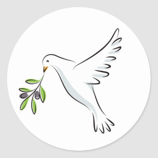 White peace dove with olive branch classic round sticker