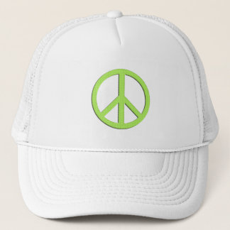 White Peace Hat in Green