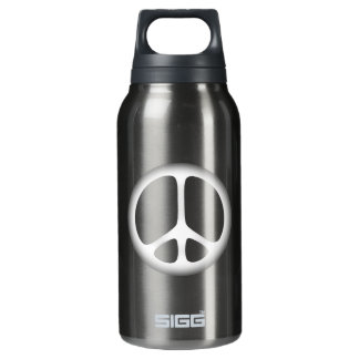 white peace insulated water bottle