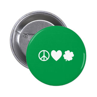 White Peace Love & Shamrocks Button