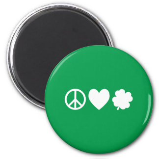 White Peace Love & Shamrocks 2 Inch Round Magnet