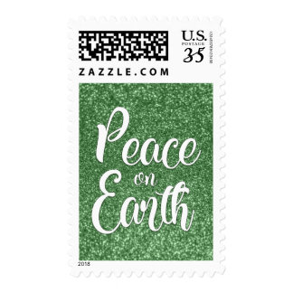 White Peace on Earth Typography Green Faux Glitter Postage