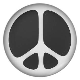 white peace party plate