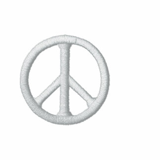 White Peace Sign Embroidered Hoodie