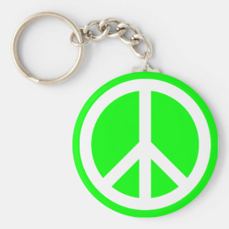 White Peace Sign on Lime Keychain