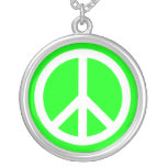 White Peace Sign on Lime Round Pendant Necklace