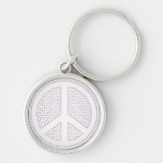 White Peace Sign on Mosaic Pattern.jpg Keychain