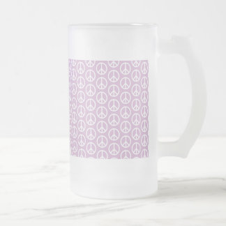White Peace Signs on Pastel Lilac Frosted Glass Beer Mug