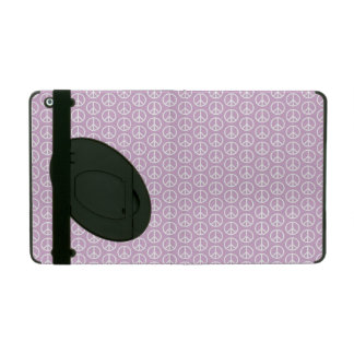 White Peace Signs on Pastel Lilac iPad Folio Cases