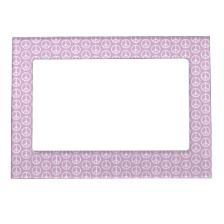 White Peace Signs on Pastel Lilac Magnetic Photo Frame