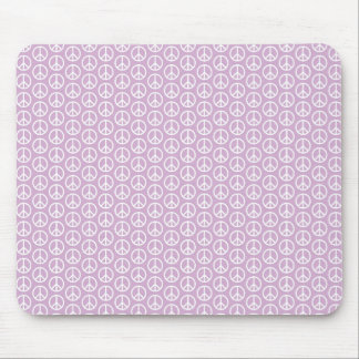 White Peace Signs on Pastel Lilac Mouse Pad