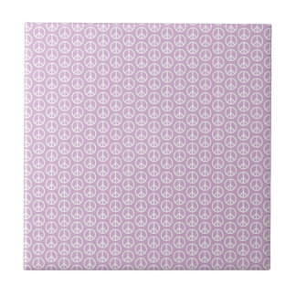 White Peace Signs on Pastel Lilac Tile