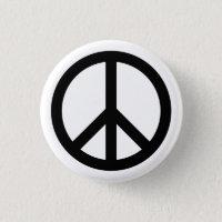 White Peace Symbol Button