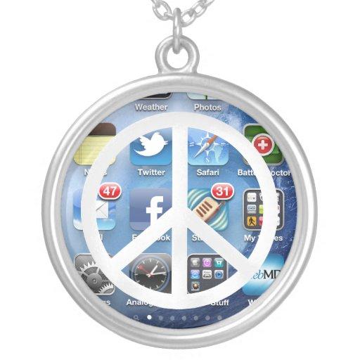 White Peace Symbol & Communication Personalized Necklace