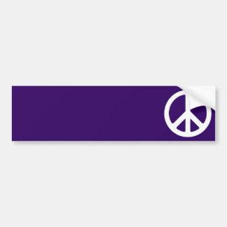 White Peace Symbol on Dark Purple Car Bumper Sticker