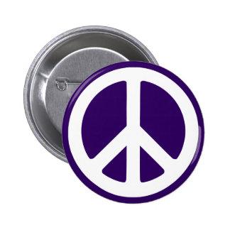 White Peace Symbol on Dark Purple Button
