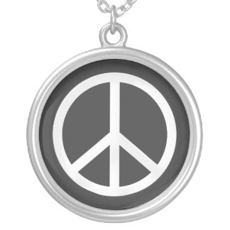 White Peace Symbol Silver Plated Necklace
