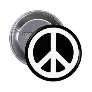 White Peace Symbol Template Pinback Button