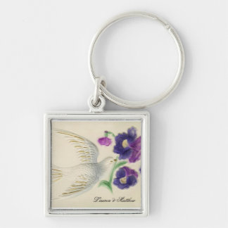 White peaceful Christmas Dove Keychain