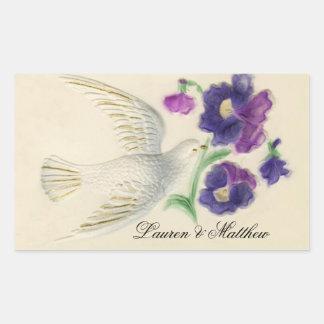 White peaceful Christmas Dove Rectangle Sticker