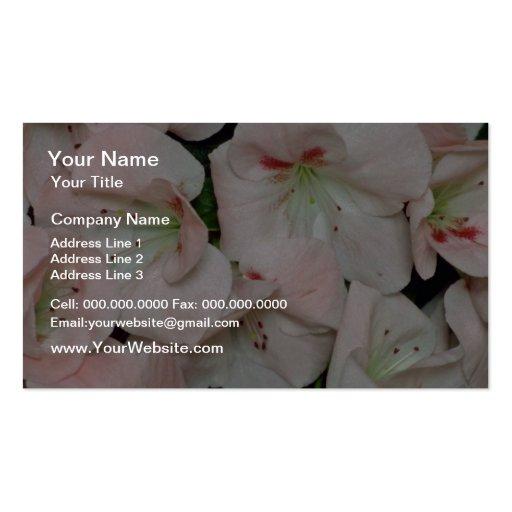 white Peach azalea blossoms flowers Business Card Template