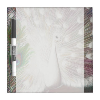 White Peacock and Green Peacock Feather art Print Dry Erase Board
