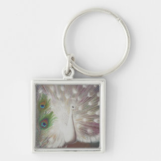 White Peacock and Green Peacock Feather art Print Keychain