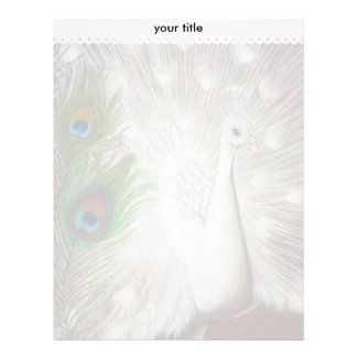 White Peacock and Green Peacock Feather art Print Letterhead