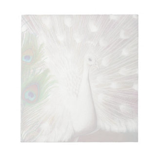 White Peacock and Green Peacock Feather art Print Note Pad