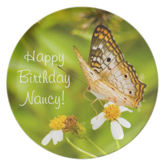 White Peacock Butterfly Birthday or Anniversary Plate
