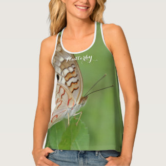 White Peacock Butterfly Flutterby Photo Tank Top