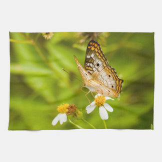 White Peacock Butterfly Kitchen Towel