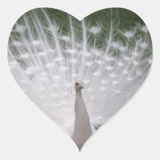 White Peacock Heart Shaped Sticker