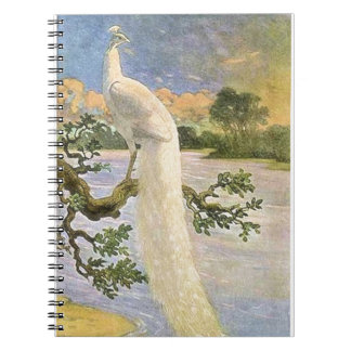 White Peacock Spiral Note Book
